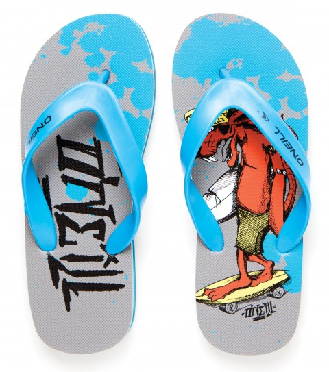 Entertainment O'Neill Boys Profile Sandals.  Thermo plastic urethane (TPU) upper; EVA footbed with screenprinted art; raised logo on strap; rubber sponge outsole.Featuring Buster Boostairs; the ultimate surf rat!  First grom in; last grom out! - $9.99