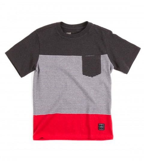 Surf O'Neill Kids Deadbolt Shirt.  100% Cotton jersey. Yarn dye stripe crew with garment wash. Standard fit with chest pocket and logo labels. - $28.00