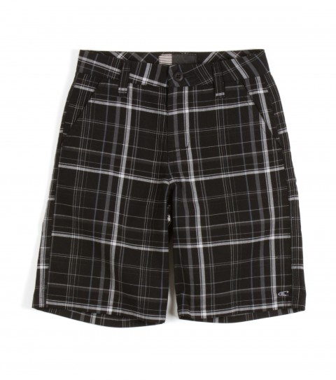 Surf O'Neill Kids Triumph Shorts.  70% Polyester / 30% Viscose.  Yarn dye plaid walkshort with heavy enzyme/silicone softener wash. Standard fit; logo embroideries and labels. - $18.99