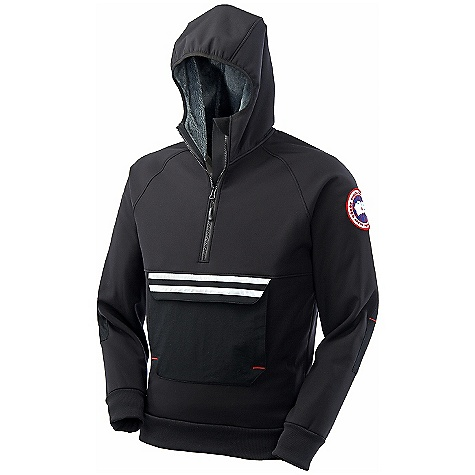 On Sale. Free Shipping. Canada Goose Men's Tremblant Pullover DECENT FEATURES of the Canada Goose Men's Tremblant Pullover Bomber-length for greater mobility Heavy-duty front half zipper Softshell shell incorporates Polartec Power Shield O2 fabric with wicking properties and is treated with durable water resistant finish One large drop in pocket with a flap provides a place to store your belongings, and is secured with a heat sealed zipper for a sleek look Brushed tricot lined handwarmer pouch with side access 3M Reflective tape across front pocket for increased visibility Grab strap at the centre back Rib-knit cuffs and waistband ensure cold wind is kept out The SPECS Fit: Slim Fit Softshell Shell Fabric: 310gsm, 80% Polyester/20% Nylon Polartec Power Shield O^2 with wicking properties and treated with a DWR finish. Fill: Non-insulated This product can only be shipped within the United States. Please don't hate us. - $239.99