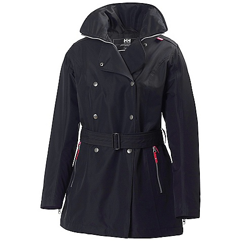 Free Shipping. Helly Hansen Women's Welsey Trench Coat DECENT FEATURES of the Helly Hansen Women's Welsey Trench Coat Helly Tech Performance 2ply construction Front storm flap YKK front zipper Packable hood One hand hood adjustments Detachable belt YKK zipped hand pockets Adjustable cuffs Bottom hem Cinch cord Anti-chafe chin guard Modern take on a classic trench coat design with the benefit of Helly Tech full weather protection The SPECS Fitting: Fitted Weight: 160 gram 100% Polyester This product can only be shipped within the United States. Please don't hate us. - $249.95