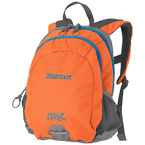Marmot Kids' Half Hitch Pack DECENT FEATURES of the Marmot Kids' Half Hitch Pack Large Main Compartment Second Zippered Pocket with Accessory Organizer Clipping Points with Reflective Tape Mesh Water Bottle Pocket Gear Loops Webbing Clipping Points Sternum Strap The SPECS Weight: 10 oz / 270 g Volume: 500 cubic inches / 8 liter Access: Panel Load Reinforcement 600d Polyester 600d Polyester - $38.95
