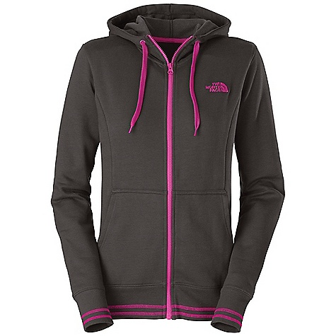 Free Shipping. The North Face Women's Logo Stretch Full Zip Hoodie DECENT FEATURES of The North Face Women's Logo Stretch Full Zip Hoodie Soft, comfortable, easy-care fabric Double-layered hood with drawcord Embroidered logo at left chest Kangaroo hand pockets Contrast color coverstitching at hem and cuffs 1x1 rib at cuffs and hem The SPECS Average Weight: 18 oz / 500 g Center Back Length: 25.5in. 280 g/m2 68% cotton, 28% polyester, 4% elastane stretch fleece This product can only be shipped within the United States. Please don't hate us. - $54.95
