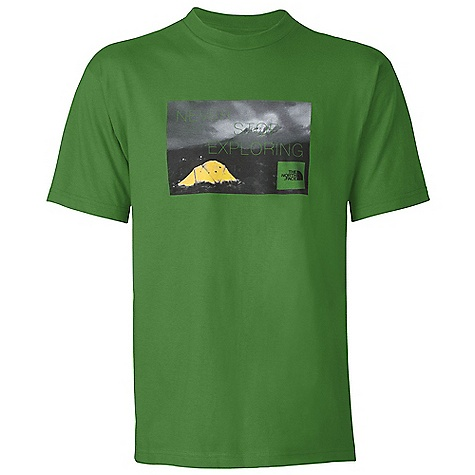 Camp and Hike The North Face Men's S-S Meru Tent Tee DECENT FEATURES of The North Face Men's Short Sleeve Meru Tent Tee Comfortable, lightweight, easy-care fabric Screen-printed graphic at chest 1x1 rib at collar The SPECS Average Weight: 7.2 oz / 204 g Center Back Length: 28.5in. 180 g/m2 94% cotton, 6% organic cotton jersey This product can only be shipped within the United States. Please don't hate us. - $24.95