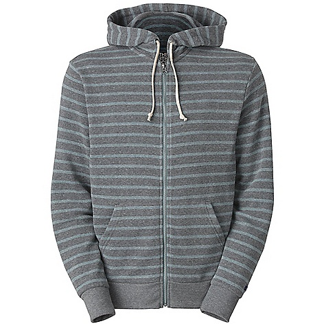 Free Shipping. The North Face Men's Merced Peak Full Zip Hoodie DECENT FEATURES of The North Face Men's Merced Peak Full Zip Hoodie Rope drawcords at hood Kangaroo hand pockets Contrast solid cuffs and waistband Rectangle logo patch at left cuff The SPECS Average Weight: 21.6 oz / 612 g High Point Shoulder: 28in. 200 g/m2 50% polyester, 46% recycled cotton, 4% rayon tri-blend french terry This product can only be shipped within the United States. Please don't hate us. - $79.95