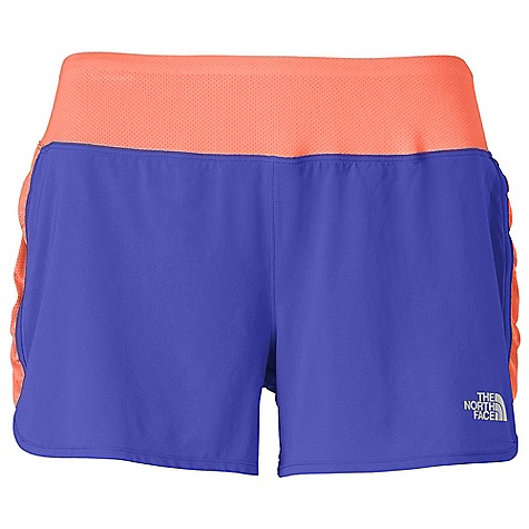The North Face Women's Eat My Dust Short DECENT FEATURES of The North Face Women's Eat My Dust Short Contoured mesh waistband construction Feminine ruched side panels Secure-zip pocket Reflective logos Imported The SPECS Average Weight: 3.88 oz Inseam: 3.5in. Body: 92 g/m2 86% polyester, 14% elastane Panel: 140 g/m2 90% polyester, 10% elastane mesh This product can only be shipped within the United States. Please don't hate us. - $44.95