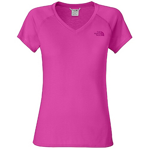The North Face Women's S-S Reaxion V-Neck Tee DECENT FEATURES of The North Face Women's Reaxion V-Neck Short Sleeve Tee Soft, ultra light fabric Relaxed fit Raglan sleeves Locker loop Pop color logo The SPECS Center Back Length: 25in. 140 g/m2 100% polyester jersey This product can only be shipped within the United States. Please don't hate us. - $24.95