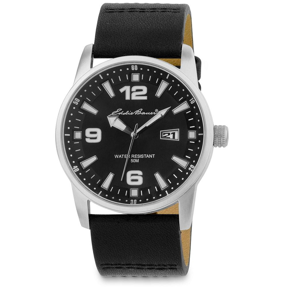 Eddie Bauer EB Classic Leather Strap Watch - Stainless steel. Water-resistant to 50m. Date Function. Leather strap. Imported. Online exclusive. - $49.99