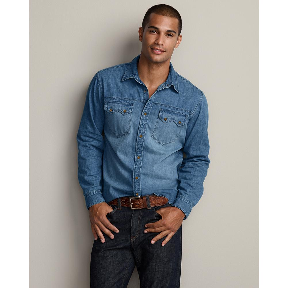 Entertainment Eddie Bauer Classic Fit Rancher Denim Shirt - A timeless classic, our denim shirt is made of pure cotton and prewashed for broken-in softness. Our new Classic fit is comfortable for most men, sitting near the body without any constriction. Like all our new fits, it's been reengineered for maximum comfort and easy movement, with back pleats, slightly larger sleeves at biceps/forearms, slightly deeper armholes, ample body length, and a comfortable neck. (Please see Men's Size Chart for more information.) - $16.99