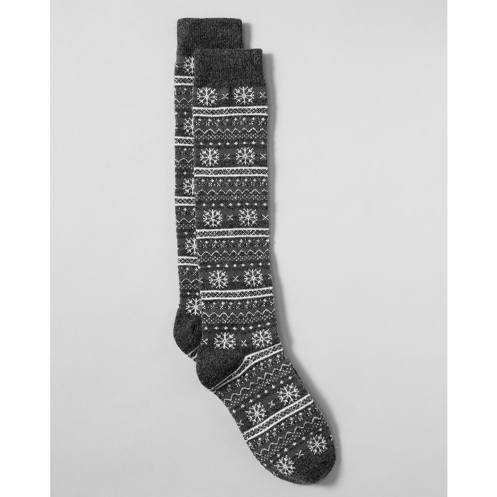 Eddie Bauer Snowflake Boot Socks - A festive combination of snowflakes and stripes adorns this comfortable boot sock. - $4.99