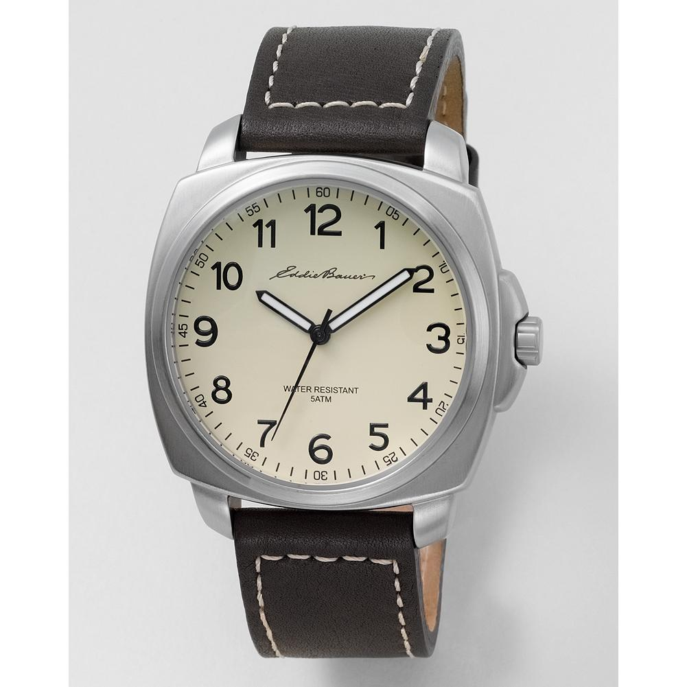 Eddie Bauer Men's Holiday Field Watch - Our Eddie Bauer exclusive men's holiday watch features sophisticated styling, an adjustable leather band with contrast stitching, and luminescent hands and markers. - $49.99