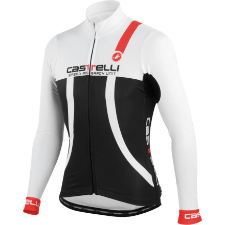 Fitness In the past year, we've seen Castelli do something unusual, yet welcomed -- making winter versions of our favorite summer-weight jerseys. And the latest in this line of adaptable jerseys is the Aero Long Sleeve Jersey. Featuring the same cut and aerodynamic properties of the Aero jersey, the Aero Long Sleeve uses breathable, warming fabrics to make it the ideal cool weather jersey. It seems like a simple idea -- take your most aerodynamic jersey and add some thermal stuff to it. Not the case for Castelli. Retaining both the shape and aero properties, while using weightier fabrics, required a thoughtful approach. First, and most obvious, the materials need to provide warmth. However, they also need to be resilient to cold winds without throttling breathability. What fabric encompasses all of these characteristics and still has race-day aerodynamics' Thermoflex Lite. This material has an incredible amount of stretch to eliminate the folds and bunching that disrupt airflow over the jersey. Its tight weave also makes the front of the jersey resistant to wind. So, you'll be aerodynamically slippery while shielding yourself from icy chills. To deal with general, atmospheric cold, the inner-lining features a high loft that warms while pulling moisture away from the skin. And aside from this, the fabric is extremely soft as to eliminate the threat of abrasion. For the rear of the jersey, Castelli used its Warmer material to promote a heightened level of breathability and structure. In conjunction with the rear hem's silicone gripper, the jersey retains its shape and fit when the three rear pockets are loaded up with your ride essentials. Castelli has also added reflective elements throughout the jersey for added visibility in low-light conditions. The Castelli Aero Long Sleeve Jersey is available in six sizes from Small to XXX-Large and in the colors Black/white and Red/black. - $89.97