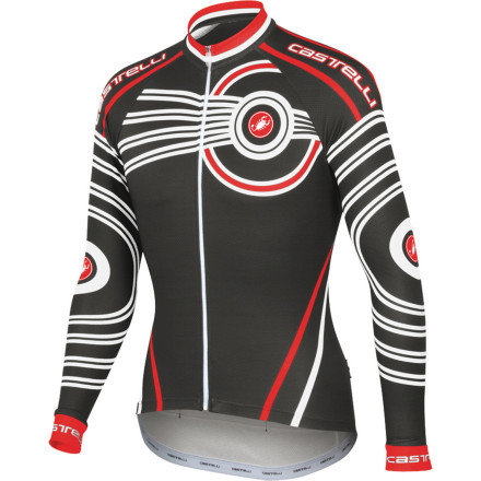 Fitness When comfort on two wheels matters, your kit needs to possess a combination of technically optimized fabrics and a perfect shape. In the case of the Castelli Mugello Long-Sleeve Jersey you get both tech-rich materials with a century of cycling expertisecomplete with a peloton-complementing splash of color.Ideal for mild temperatures, Castelli constructs the Mugello Jersey out of its Warmer fabric. This synthetic textile features a fleecy inside for next-to-skin comfort, wicking performance, and thermal insulation. The Warmer fabric is also stretchy to allow ample movement, and it has a smooth face to help reduce drag.The Mugello's treated with a process Castelli refers to as Prosecco. This fabric treatment enhances the synthetic blends already inherent wicking properties by spreading perspiration quickly and evenly for efficient evaporation. This ensures your core stays dry; preventing clamminess if it's chilly or preventing overheating if the mercury climbs.Enabling the Mugello's technical properties is a body-contouring shape that packs a century of custom-tailored cycling apparel under it's belt. Castelli knows a thing or two about fit, and has defined modern cycling wear with many firsts, including Lycra shorts. An example of Castelli's innovation in the Mugello is the sleeves; they are articulated forward to provide the best fit when you're in a natural cycling position. Not only does this ensure excellent aerodynamics, it permits the Mugello to utilize the optimized fabric to its fullest potential. Out of the box, the Mugello will fit tight against the chest and unnaturally when prepping for a ride, but once seated and spinning its superior design comes to light. - $59.98