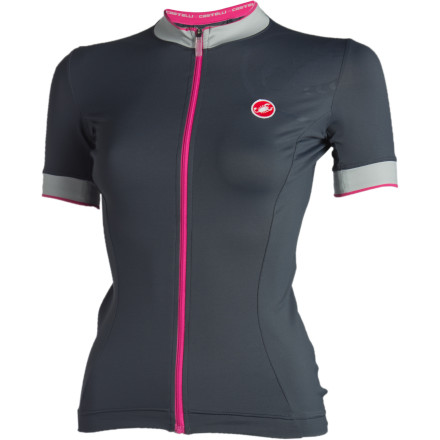 Fitness Nothing beats a finely tailored piece of clothing, whether you're slipping into your work suit or have found the ideal pair of jeans. The Castelli Perla Full Zip Women's Short Sleeve Jersey will quickly become your favorite jersey because you'll immediately notice the perfect fit the Castelli tailoring offers. Made from Castelli's Softflex material, the Perla Jersey has a soft stretchy goodness that will make all your other jerseys now seem a touch uncomfortable. With a gentle cotton feel, you'll think that the Perla is more for fashion than hard riding, but you'll quickly change your mind once you start hammering it in the saddle and realize how well it is keeping you cool on the road. The moisture management that the Softflex fabric provides will never leave you soggy; you can even use this at your spinning class and not come out of it a sopping mess. Castelli has taken care with the arm holes and neck line by giving them a microfiber trim that will feel soft next to your skin and will work overtime to keep these typically hot and sweaty areas dry. Three rear pockets with the added measure of a zippered key pocket have been provided to hold all your goods. And don't worry ladies, Castelli has actually kept the pockets a good size (small pockets are a pet peeve of ours). The full-length YKK zipper will make your life much easier whether you need to zip it up quickly before the start of the descent, or you simply need to disrobe quickly for a pit stop along the route. Two reflective tabs have also been included so that you'll be visible even if you are caught out after dusk. The Castelli Perla Full Zip Women's Short Sleeve Jersey has a charming embossed tone-on-tone scorpion logo on the left shoulder. It comes in Lilac and Pink with sizes ranging from X-Small through X-Large. - $40.00
