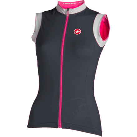 Fitness Wearing a sleeveless jersey can be a huge relief on those very hot days, but what we gain in cool comfort we sometimes lose in practicality. Pockets for women's jerseys can often be minimalist at best, non-existent at worst. But never fear: the Castelli Perla Full Zip Sleeveless Women's Jersey gives you the benefit of a jersey intended for those hottest days, while still giving you enough pocket space to take along your usual kit. Castelli uses its Softflex fabric for the major panels; it offers the look and even feel of finely brushed cotton, but it delivers the accommodating stretch and wicking properties of a performance fabric. The microfiber collar and sleeve trim is even softer and equally adept at wicking sweat. The storage space in the Perla Sleeveless Jersey is nothing short of monumental, especially in comparison to other women-specific sleeveless jerseys. Three rear pockets are even augmented by a zippered pocket that will keep your keys safe; finally, someone realizes that we ladies need just as much pocket space as the men do. Two reflective rear tabs will help keep you visible if you are caught out after dark. The Castelli Perla Full Zip Sleeveless Women's Jersey comes in Anthracite and Pink Gardenia. It is available in X-Small through X-Large. - $37.50