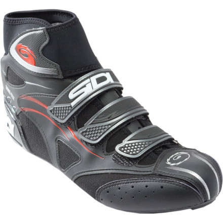 Fitness Good things come to those who train. And, since a winter on rollers in the garage may as well be an appointment for a lobotomy, the Sidi Hydro GTX Cold-Weather Shoes will keep you riding outside all the way through the cold seasons. The Hydros are built around a Gore-Tex bootie that is tested at every stage to ensure complete waterproofness and breathability. The Lorica and nylon uppers keep cold air at bay, and the neoprene cuff effectively seals out moisture from above. Four hook-and-loop straps allow you to easily adjust the fit, and the Hydros are built slightly larger than a typical Sidi shoe to accommodate thicker socks.Nylon sole provides plenty of stiffness for training Replaceable heel pad gives you traction off the bike and at stoplights Light insulation keeps your feet warm without turning the shoes into sweatboxes Make sure to keep your pant or tight cuffs on the outside of the neoprene cuff to keep water from seeping in - $239.95