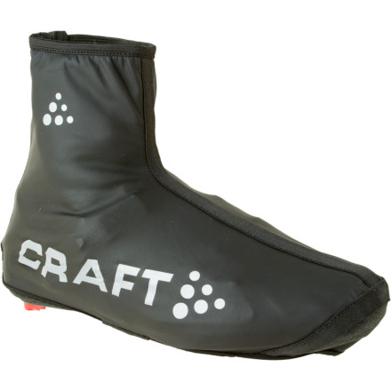 Fitness With nice road shoes cresting the $350 mark, the last thing you want to do is get them soaked and muddied on a wet ride. The Craft Bike Rain Bootie will give your feet supreme protection from wind and rain while making sure that your kicks are spared the majority of the insults from sloppy roads.Craft uses fabric that is highly elastic so these booties fit like a second skin over your shoes. The top of the bootie has a Velcro strap, which makes it possible to secure the top closure tightly over your bib tights or directly against your skin if youre wearing knickers. The three-quarter zipper at the back means that, even though the booties are effectively form-fitted on the foot, youll be able to get them on and off without breaking into a sweat. Of course, the material is also windproof and waterproof.Kevlar reinforcements have been added to the heel and nose to make them more durable for walking to and from the bike rack outside the cafe. Craft added reflective print to keep you visible in the darker conditions youll likely be riding in while wearing them. The Craft Bike Rain Booties come in Black and are available in sizes X-Small through X-Large. - $19.98