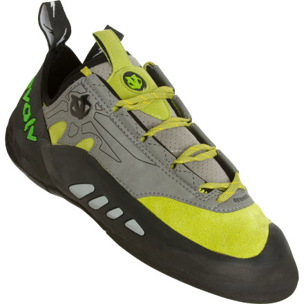 Climbing Perform at a higher level, and at a higher elevation, in the Evolv Geshido Climbing Shoe. A performance-oriented design manifests itself in the forms of a leather upper and super sticky Trax XT-5 high-friction rubber for intimidating adhering power. A molded midsole reduces deadspace underfoot for more natural claw action, and an innovative cinch system offers a superb fit. - $101.21