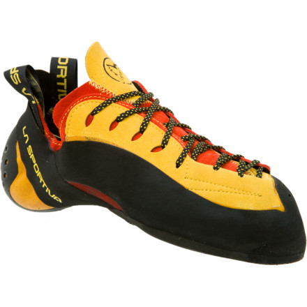 Climbing La Sportiva designed every inch of the Testarossa Vibram XS Grip2 Climbing Shoe to give you an edge on hard sport routes. The aggressive shape includes a down-turned toe to keep you glued to super steep pitches, and the full-length laces ensure a precise fit. - $174.95
