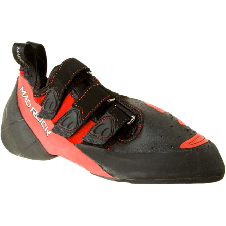 Climbing The Mad Rock Con-Flict Climbing Shoe comes with a three-strap hook-and-loop closure to look your foot in place and help you take advantage of the super sticky Science Friction 2.2 rubber. Mad Rock put a little though into the steep stuff as well and gave this shoe and over-wrapped toe area so the sole's friction can help you send even when you're desperately toe-hooking your way out a roof. - $108.95