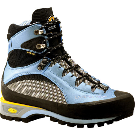 Climbing The La Sportiva Womens Trango S EVO GTX Mountaineering Boot features the weather protection of Gore-Tex and the low weight you demand in the mountains. By using a combination of synthetic leather and waterproof Cordura, La Sportiva managed to make these sporty boots very light and tough enough for the alpine world. The Trango EVO Boots also include Vibram soles for serious on-snow performance and newmatic crampon compatibility when you get to the ice. - $271.96