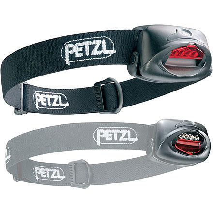 Climbing The Petzl TacTikka Plus is a tactical version of the popular Tikka Plus Headlamp. It has all of the great features including 4 LEDs instead of 3, a push on/off button instead of a slider switch, a tiltable housing, and 3 brightness settings with strobe function. These features have been combined with a red lens that easily flips down over the LED's for night vision. It is also water-resistant for all-weather use. The 150-hour burn time and durability of the LED makes the TacTikka Plus reliable. It doesn't throw out huge candlepower (33ft or 10m), making it ideal for activities requiring close-up lighting like trail hiking, setting up camp, and reading. The TacTikka Plus runs on 3  batteries (included), and at 2.5 ounces, weighs next to nothing in your pack. - $45.95