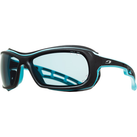 Entertainment Julbo gave the Wave Sunglasses the Octopus lens to create its ultimate water sports eyewear. The photochromic, polarized Octopus lens automatically adapts to changing light conditions to protect your eyes and provide the best possible optics for the moment. It also eliminates glare so you can perform at your very best, whether you're kite surfing, sailing, or trying to land the big one.Octopus photochromic, polarized lens adapts to changing light conditions and eliminates vision-robbing glare Visible light transmission of 5-20%, depending on light conditions   Hydrophobic coating makes water slide off the lens, while oil-repellent coating fights fingerprints Grey tint offers faithful color reproduction Durable design made to hold up to harsh watery environments, and floats should you take a spill in the drink Removable frame skirts for added protection against sun and spray Adjustable neck strap for added security - $170.96
