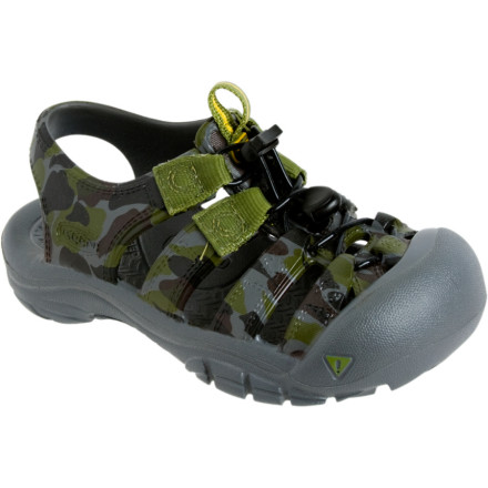Entertainment When the family is headed out for a day on the river, a warm afternoon on an easy trail, or a ride on Uncle Charlie's sailboat, the KEEN Sunport Sandal gives kids a comfortable, rugged, and cool footwear option. Molded entirely from EVA, and offering an adjustable fit at the pull of a drawstring, this KEEN sandal protects young adventurous feet. The Kids' Sunport Sandal even has a toe cap that prevents painful stubs, pokes and scrapes. - $27.96