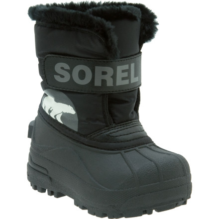 Your little boy  doesn't have to be timid about tromping through the snow. The Sorel Snow Commander Boots ensure your toddler's feet stay dry and warm while he kicks snow drifts, attempts throwing a snowball, or climbs the sledding hill with Dad. The multi-lug outsoles keep him stable when he waddles across ice or hardpack. - $46.71