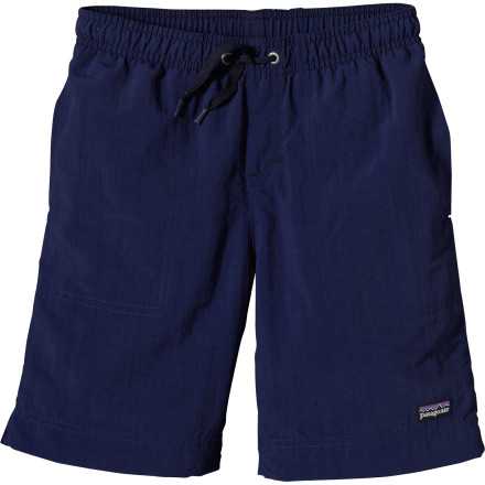 Fitness When your little guy is in his Patagonia Kids' Baggies Shorts, you can be pretty sure he's going to have a good time. You can also be sure that you won't have to pack extra towels to line the backseat of the car for the ride home. - $35.00