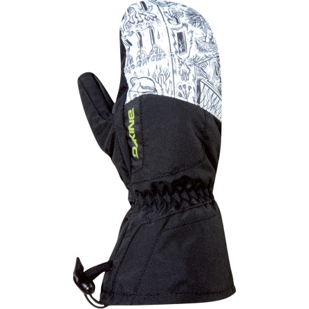 Snowboard The DAKINE Kids' Tracker Jr. Mitten prevents a fun day in the snow from being ruined by frozen fingers. The waterproof, breathable DK Dry inserts act as the main line of defense against the elements. Thermoloft insulation and a soft tricot lining ensure warmth and soft comfort. The Tracker Jr. Mittens large gauntlet with drawstring closure fits over a jacket cuff to create an added barrier against the snow and wind. DAKINE completed this mitten with burly RubberTec palms to make them durable enough for days of shredding, dragging sleds, and playing in the snow. - $17.97