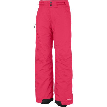 Snowboard The Columbia Girls Bugaboo Pant uses an Omni-Tech shell to blocks moisture while allowing water vapor to escape so your girl stays dry while she's trying out the slopes on her winter vacation. She can ski all day long or build snow caves to her heart's content, and she won't have to worry about getting cold or wet. - $38.47