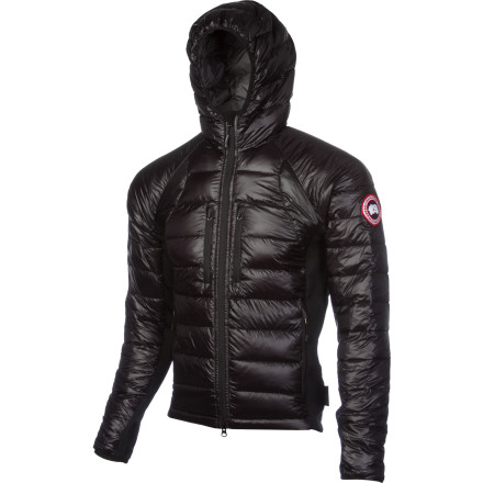 Ski Designed as a top-quality insulator for cool-weather missions or versatile layering piece under your ski shell, the Canada Goose Hybridge Lite Hooded Down Jacket offers lightweight insulation in a small package. Ultra-premium 800-fill Hutterlite down insulation ensures a sky-high warmth-to-weight ratio, and Polartec Power Stretch Hardface underarm panels provide top-shelf breathability for active pursuits. - $549.95