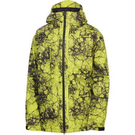 Snowboard The 686 Mannual Cracked Insulated Jacket packs a ton of value underneath its sweet all-over print exterior. An easy-access chest vent lets you drop heat at a moment's notice, while the adjustable pow skirt and PJ-Connect system help you batten down the hatches when the snow gets deep. - $76.50