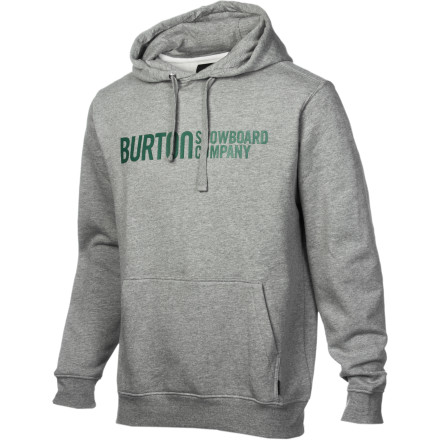 Snowboard The Burton Men's Classic Horizontal Pullover Hooded Sweatshirt is made of cotton, has a hood, and a really big front pocket in which you can warm your hands. That's about all you need to know; if we were to get into the technical details of the horizontally placed logo or how Burton is a snowboard company, then things might start to get too complicated. - $38.21