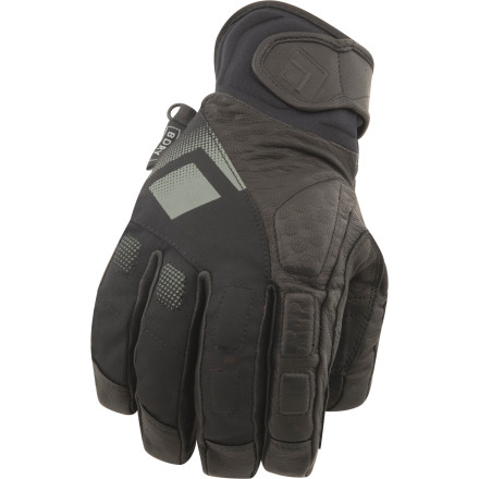 Ski Everyone has a top or bottom preference, and the Black Diamond Men's Spy Glove prefers to ride out powder on bottom, underneath the cuff of your jacket. Slide your hand inside this tough, fleece-lined glove and cinch the cuff of your jacket over the compression-molded cuff of the Spy Glove. Armed with a waterproof breathable BDry insert and a nigh-bulletproof goat leather palm, this glove protects your digits when you get wicked in the pillow lines beyond the park. - $45.47
