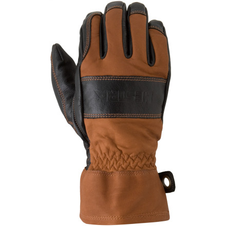 Ski If you spend your work days on your skis or ski like it's your job, you can't do without the Hestra Guide Leather Glove. This all-leather glove is a little stiff out of the box, but once it's broken in you won't ski without it. Hestra designed the durable glove with a work cuff that lacks a zipper or snap closure; it's easy to get on and off to tie lines or dig through your pockets. The hardwearing glove has a removable wool liner you can leave in your car on warm days and dry it out in the patrol shack over lunch. - $144.95