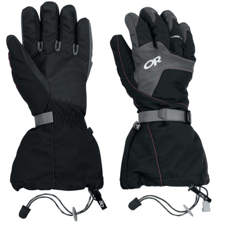 Ski Built with a waterproof breathable Gore-Tex membrane and a heaping dost of PrimaLoft One insulation, The Outdoor Research Alti Glove is designed to stand up to brutal alpine elements. Designed with PrimaLoft on the back of the hand and a shell that features articulated fingers, this ski-mountaineering glove provides excellent warmth without sacrificing dexterity unnecessarily. - $158.95