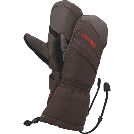 Ski When the mountains and the weather throw their worst at you the Marmot Women's Warmest Mitt ensures warm, dry hands. Marmot loaded this cold weather mitt with high-loft Primaloft insulation and added a moisture-stopping Gore-Tex insert for guaranteed comfort. Whether you step into crampons, ski bindings, or snowboard boots at the beggining of the day, the burly Warmest Mitt ensures all-day warmth and comfort. The Warmest Mitt's smooth tricot lining wicks your sweat away when the going gets tough and the zippered heater pockets comes in handy when gale-force winds pickup on that exposed belay. Grip-tech palms and fingers help you keep a firm grip on your gear, and the safety leashes provide no-drop insurance when you need to remove your mitts. - $99.95