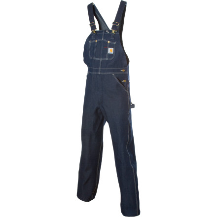 When it's time to take care of business and no weak-willed work wear will get the job done, pull on the Carhartt Denim Bib Overall. These unlined, cotton denim pants feature a relaxed fit that can't hide the fact that they were born to work. Adjustable suspenders help you get the right fit and rise for day-in, day-out load hauling. - $54.95