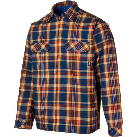 Camp and Hike Take your lady friend for a night out with the clouds and moon when you show her the real you while wearing the Patagonia Reversible Flannel Jacket. Wear this flannel jackets quilted side on the interior or the exterior as you set up a tent in the cool evening. If she gets cold while you start the fire, loan her the Reversible Flannel Jacket, equipped with recycled Thermogreen insulation inside, so she doesnt second-guess what shes doing in the woods with you. When a shower moves in after dinner, the DWR finish keeps out the rain long enough to clean up camp while she waits for some company inside the dry tent. - $116.35