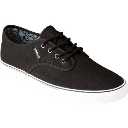 The Gravis Slymz Shoes trim the fat to deliver versatile, slimmed-down style. The canvas upper and classic vulc sole offer a timeless look that goes just about anywhere. The premium textile lining means you can comfortably rock em all summer without socksjust make sure to air them out. - $34.97