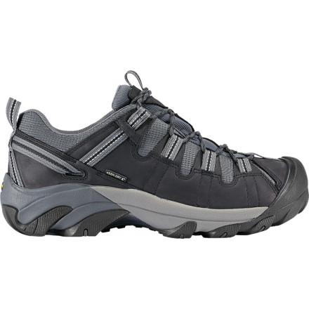 Camp and Hike Try out a killer new day hike in the Keen Men's Targhee II Hiking Shoes. The eVENT waterproof barrier keeps your feet dry as you stomp through puddles and comfortable on the rocky sections of the trail. The waterproof leather upper blocks out moisture so your feet stay dry and the AEGIS Microbe Shield Treated Mesh Lining wicks sweat, which keeps you blister-free. The ESS shank provides your foot with great stability on those super steep sections, and the Secure-Fit Lace Capture System gives you easy control over the tightness of your laces. - $119.95