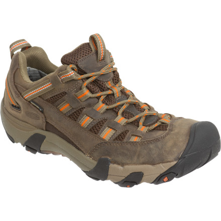 Camp and Hike The KEEN Alamosa WP Hiking Shoe excels at lightweight treks through state parks and day hikes on local trails. The Alamosa comes with a soft EVA midsole to cushion your steps and a waterproof breathable insert so you don't have to pansy-foot around mud and puddles. - $119.95