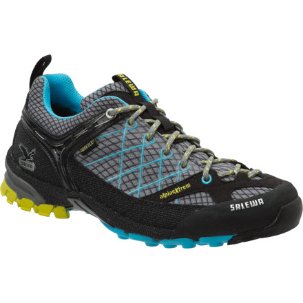 Camp and Hike Combine the lightweight comfort of a running shoe with the technology of a mountaineering boot like climbing, laces, rands, and a Gore-Tex liner and you've got the Salewa Women's Firetail Hiking GTX shoe. A glove-like fit keeps your feet from rubbing around and blistering while you glide over miles of trail. Protective touches at around the perimeter and at the toe, and a Vibram sole give your feet all the armor they need to survive run after run. - $95.37