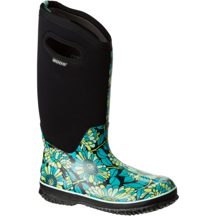 Are those mums on your boots, or are you just happy to see the rain' The totally waterproof, -40-degree comfort-rated Bogs Women's Classic High Mumsie Boot will have you singing in the rain, sleet, snow, hail, and any other kind of precipitation and cold that may come. Four-way stretchiness and a moisture-wicking liner will keep you comfy and happy and make the envy of the garden club, snow-shoveling procession, and everything in-between. Plus, you'll smell like roses season-to-season with Aegis antimicrobial odor-fighting protection. It almost seems unfair. - $82.49