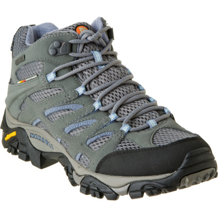 Camp and Hike Whether you're hiking in the desert or damp woods, you'll appreciate the ideal blend of waterproof protection, support, and breathability of the Merrell Women's Moab Mid GTX XCR Boot. Merrell incorporated its specially designed insole that helps promote alignment throughout your leg and hip to reduce soreness and fatigue. - $139.95