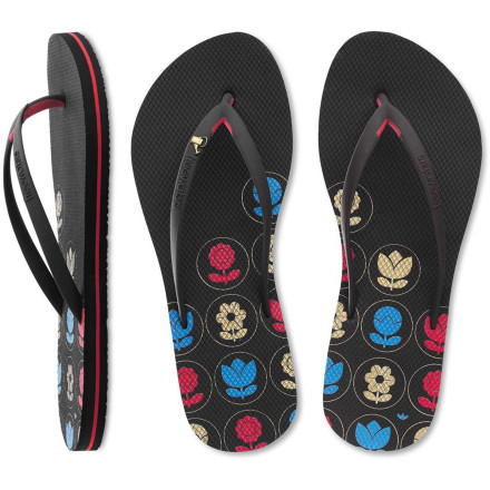 Surf The Freewaters Women's Tropicali Sandals enjoys long walks on the boardwalk and making sure your feet are comfortable. These sweet flip-flops made with PVC-free rubber features a super-supportive arch and foam midsole with extra-cushy rebound foam in the forefoot for exceptional comfort. - $28.76