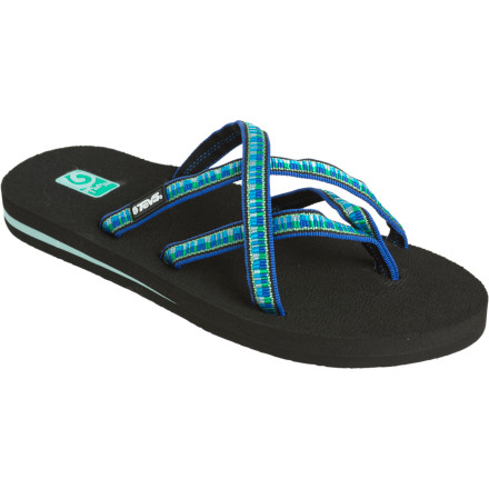 Entertainment The Teva Women\\\s Olowahu Sandal holds your foot in place better than your average flip-flop, and its pretty crisscrossing strap design looks much more feminine at the same time. Smooth, lightweight tubular webbing won\\\t chafe against your skin, and a smooth EVA topsole supports your arch. Wear the Olowahu to the beach or on a smokin\\\ hot date--where your suitor\\\s admiration of your sandal will serve as a fine conversation starter. - $25.00