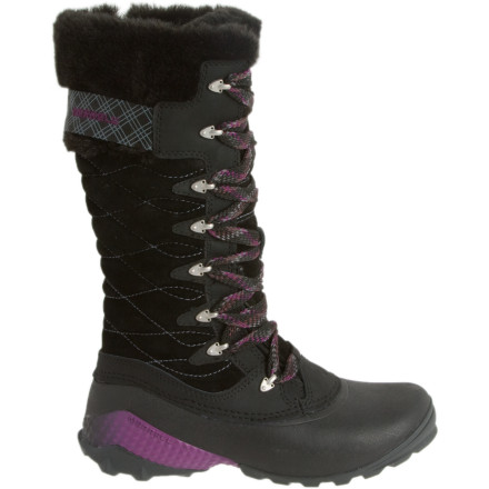 Merrell combined formidable cold-fighting features and fun retro styling to create the Women's Winterbelle Peak Waterproof Boot. The tall suede shank with eye-catching stitching details is topped with a faux fur ruff for extra pizazz and warmth. - $118.65